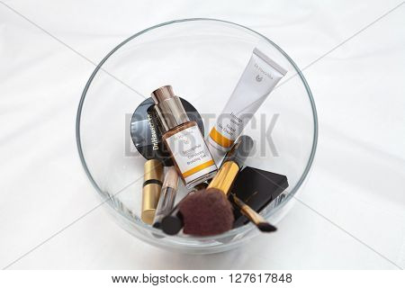 ZAGREB , CROATIA - MARCH 16th, 2016: Dr. Hauschka face care and make-up in a glass bowl, product shot