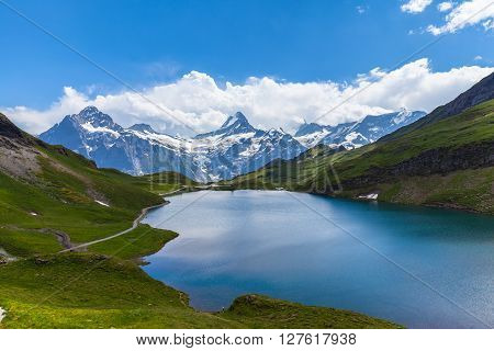 Panorama View Of Bachalpsee And The Alps