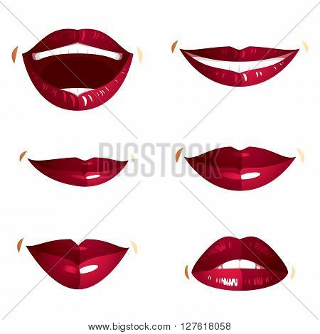 Collection of vector red female lips with makeup different emotions of ladies. Simple beautiful female open and close up lips and mouth.