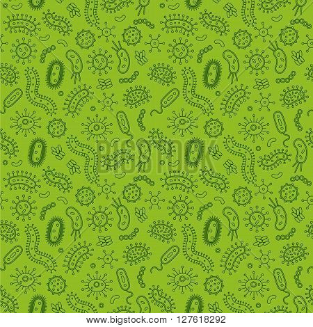 Green Bacteria and germs in a repeat pattern