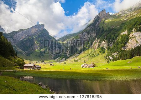 Stunning View Of Seealpsee (lake) And The Alpstein Massif