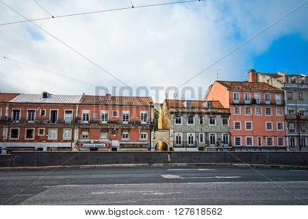 Lisbon, Portugal.- September 11: Old Town Lisbon on September 11, 2014. street view of typical houses in Lisbon, Portugal, Europ