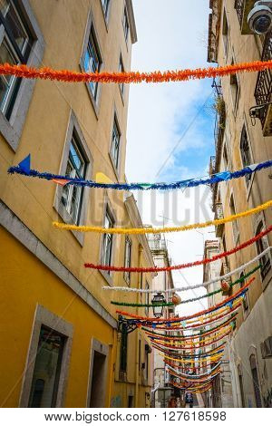 Lisbon, Portugal.- September 11: Old Town Lisbon on September 11, 2014. street view of typical houses in Lisbon, Portugal, Europ