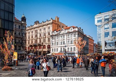 PRAGUE, CZECH REPUBLIC - April 10 : Tourists on foot Street in Prague, Czech Republic. April 10, 2015 in PRAGUE