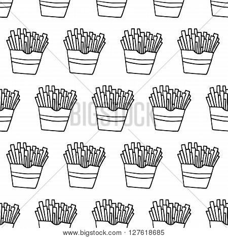 French fries hand drawn pattern. Fabric hand drawn pattern. Textile hand drawn pattern. Trendy hand drawn pattern. Cute hand drawn pattern. Monochrome hand drawn pattern. Fast food hand drawn pattern.
