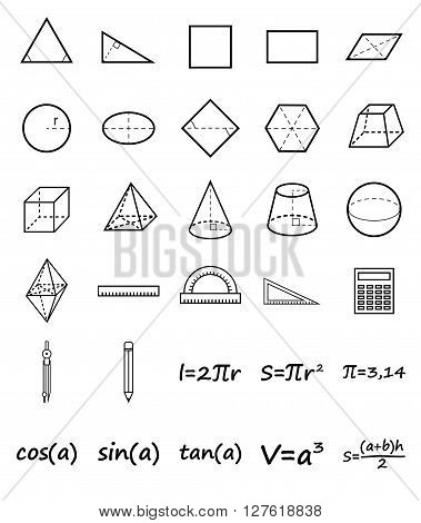 Set of geometry icons. Science, basic education. Flat style. Vector illustration.