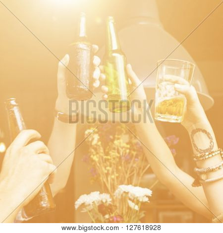 Friendship Togetherness Party Drinking Cheers Concept