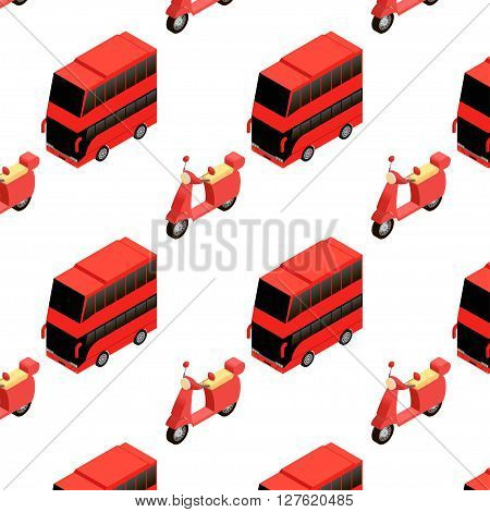 Isometric double decker bus and moped seamless pattern