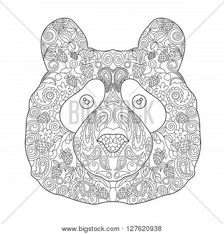 Ethnic Zentagle Ornate Hand Drawn Bear Head. Black and White Ink Doodle Vector Illustration. Sketch for Tattoo Poster Print or t-shirt. Relaxing Coloring Book for Adult and Children.