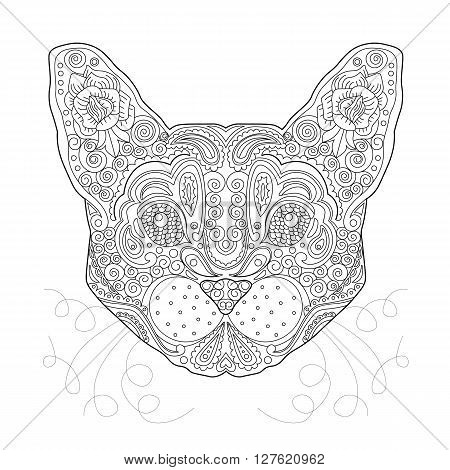 Ethnic Zentagle Ornate Hand Drawn Cat Head. Black and White Ink Doodle Vector Illustration. Sketch for Tattoo Poster Print or t-shirt. Relaxing Coloring Book for Adult and Children.