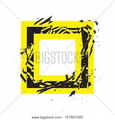 Vector Grunge Stylized Geometrical Shape Explosion. Square Symbol With Splatters And Splashes.