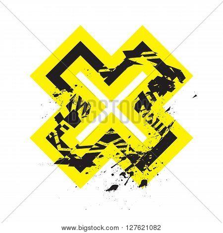 Vector Grunge Stylized Geometrical Shape Explosion. Cross Symbol With Splatters And Splashes.