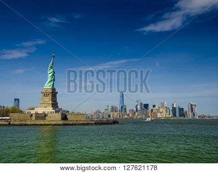 Statue of Liberty on a sunny day, real view