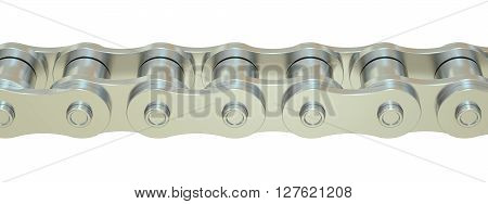Bicycle Chain closeup 3D rendering isolated on white background