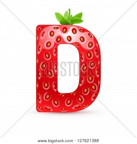 Letter D in strawberry style with green leaves