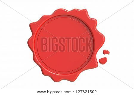 Red Wax Seal 3D rendering isolated on white background