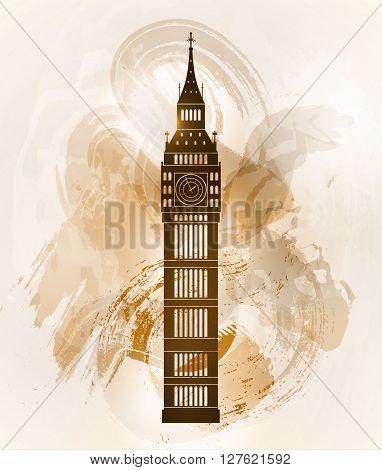 Big ben on colorful background. London sight. Vector illustration.