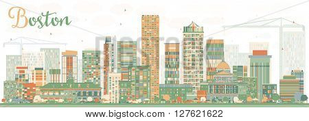 Abstract Boston Skyline with Color Buildings. Business Travel and Tourism Concept with Modern Buildings. Image for Presentation Banner Placard and Web Site.