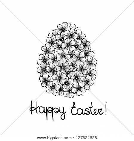 beautiful monochrome black and white Easter greeting card with flowers graphics in the form of eggs. Hand-drawn contour lines and strokes. Perfect for background greeting cards and invitations