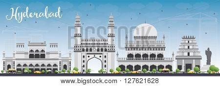 Hyderabad Skyline with Gray Landmarks and Blue Sky. Business Travel and Tourism Concept with Historic Buildings. Image for Presentation Banner Placard and Web Site.