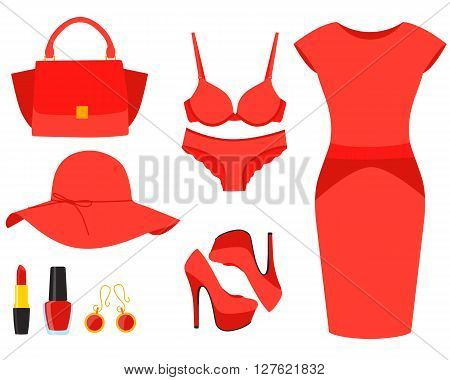 Set red clothes. Dress, shoes and handbag. Vector illustration