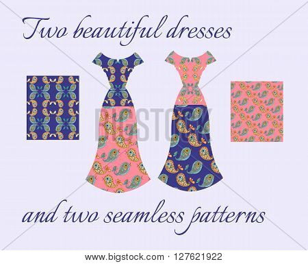 Beautiful card with summer female dresses. Seamless patterns with cute paisley birds. Fashion design. Vector illustration.