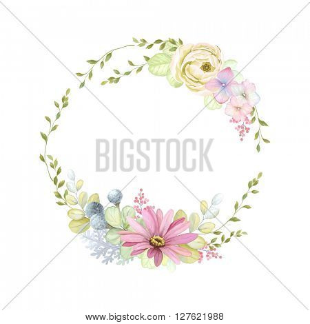 Cute wreath with green branches and leaves, ranunculus, Pyrethrum and Silver Brunia, vector illustration in vintage watercolor style.