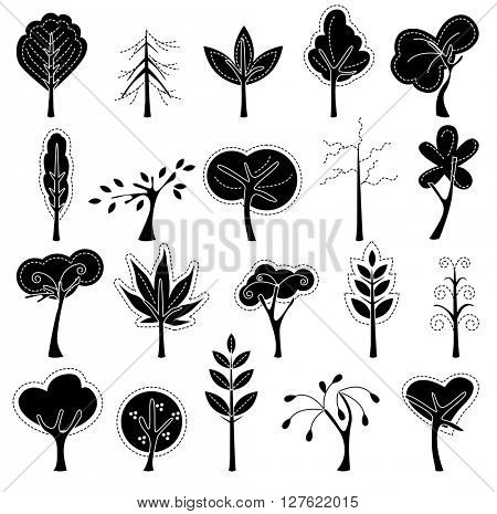 Set with trees.  Black and white.