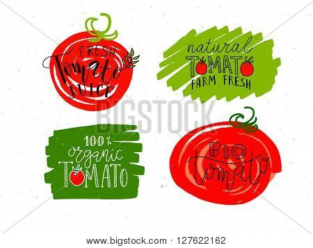 Hand Sketched Tomato Product Lettering Typography Set
