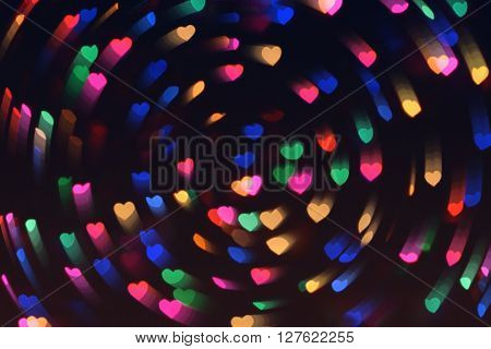 Bokeh Hearts Lights Whirl Romantic Background Night 1