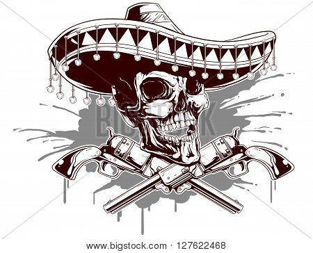 A vector illustration of mexican dead skull and old revolvers