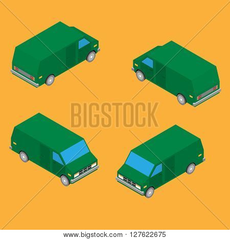 isometric delivery van isolated on the yellow background