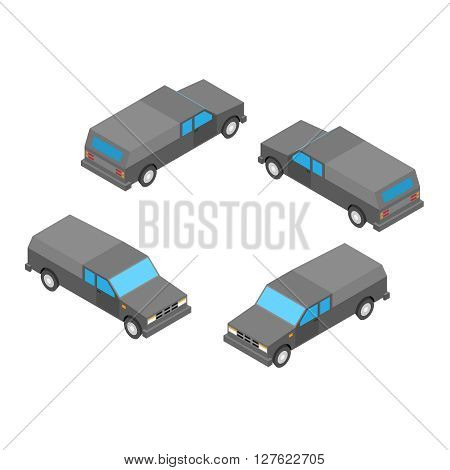isometric pickup truck on the white background