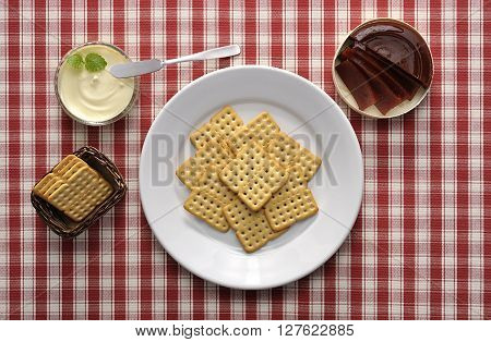 photography studio in red checkered tablecloth dish with biscuit, jelly and cream cheese