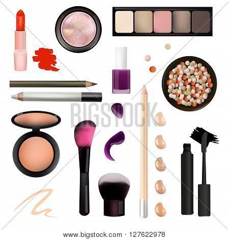 Make Up Artist Objects. lipstick eye shadows eyeliner concealer nail polish brushespencils palettes powder. Isolated on White Background Vector Illustration. Realistic Design.
