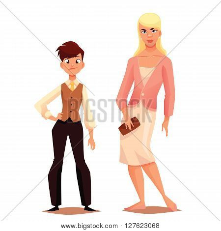 Transgender men women, dress boy, mens clothing on girl, a mismatch of social biological gender, human uncertainty in choice of sexuality, vector illustration, cartoon characters on a white background