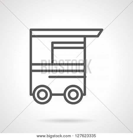 Food trolleys and carts with awning. Street trade. Hot-dog cart. Simple black line vector icon. Single element for web design, mobile app.