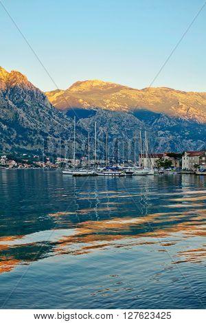 Sailing boats in marina at sunset. Tivat. Montenegro