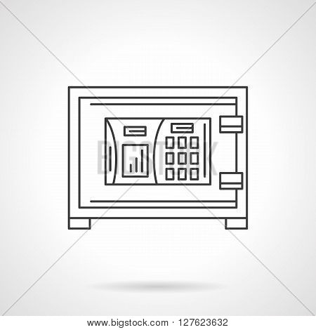 A front view of safe box with combination lock. Storage of important papers, moneys and others. Banking sign. Flat line style vector icon. Single design element for website, business.