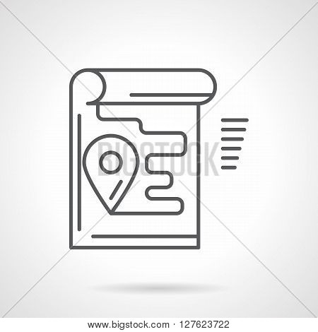 Unrolled paper map with navigational pin and route line. Sign for application. Flat line style vector icon. Single design element for website, business.