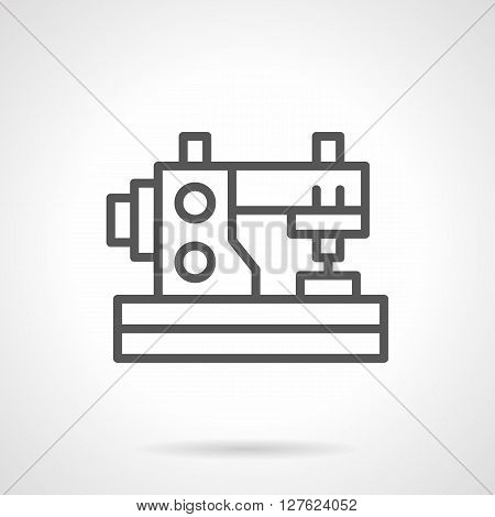 Sewing machine for home hobbies. DIY symbol. Tailoring at home. Personal dressmaking. Simple black line vector icon. Single element for web design, mobile app.