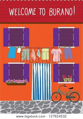 Burano street with a bycicle vector card