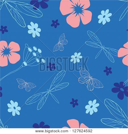Blue and pink dragonflies and flowers seamless vector pattern