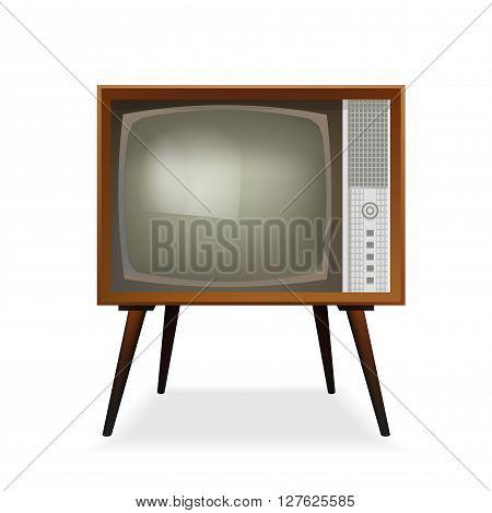 Retro TV. Old Vintage TV Set. Vector Illustration. Isolated On White Background.