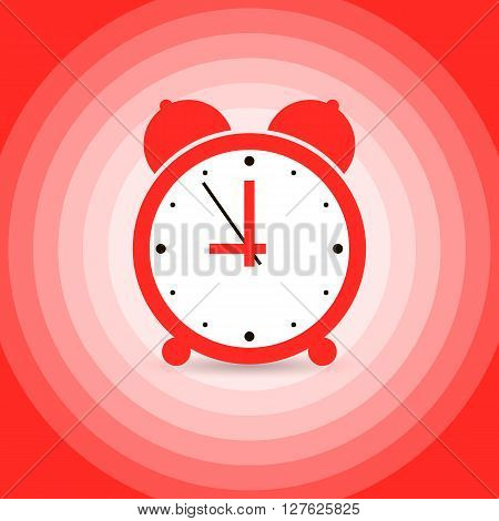 Red retro alarm clock. Vector image drawn by using global colors. A Wake-up call.