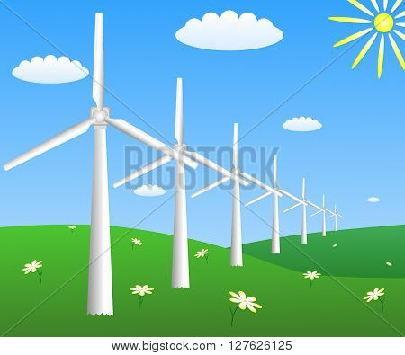 Wind turbines on a field with camomiles. Vector EPS 10