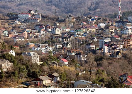 Residential buildings in the mountainous areas of Sochi. Russia