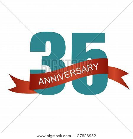 Thirty Five 35 Years Anniversary Label Sign for your Date. Vector Illustration EPS10