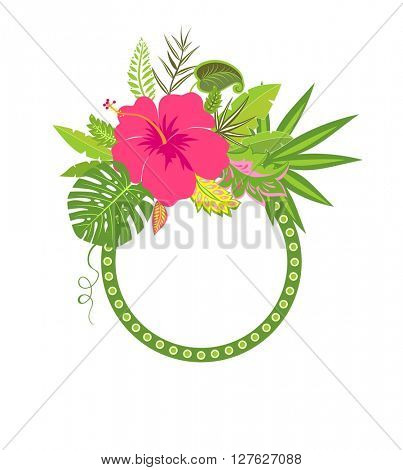 Frame with exotic leaves and hibiscus