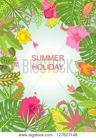 Summer holiday background with exotic flowers